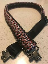 ADJUSTABLE PARACORD GUN SLING BLACK AND RED CAMO GROVTEC SWIVELS