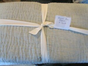 Pottery Barn Mineral Blue Belgian Flax Linen Handcrafted Quilt King New wo tag