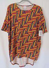 Lularoe Irma Shirt High Low Tunic Multi Color Geometric Print M  #5456