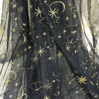 1YD Moon Star Embroidery Lace Fabric Glitter Mesh Sheer DIY Bridal Dress Curtain