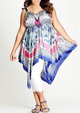 Plus Size Ladies Long Top / Tunic With Adjustable Straps- Irregular Hem  Size 14