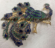 Vintage Antique 1.58cts Rose Cut Diamond Gemstone Silver Peacock Brooch Jewelry