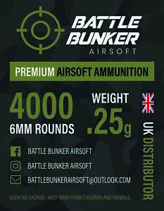 Battle Bunker BBs 4000 x 0.25g Premium 6mm BBs