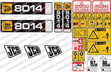 JCB 8014 / 8016 / 8018 MINI DIGGER COMPLETE CHROME DECAL SET WITH SAFTY WARNING