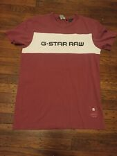 G Star Raw Pink And White Spell Out T Shirt Sz Small