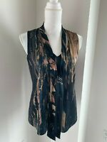 Elie Tahari Black Blue & Brown Silk Print Tie Neck Sleeveless Top Blouse SZ XS
