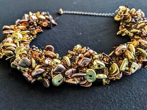 18 Inch Bronze and Gold Seed Bead Necklace Multi-Strand Torsade Sequins Beads