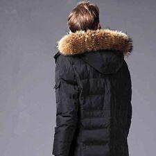 "Real Raccoon Fur Collar Down Jacket Hood Trimming Scarf Brown 80*20cm/31X8"" US"