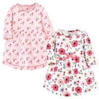 Touched by Nature Baby Long Sleeve Organic Dress 2-Pack, Coral Garden
