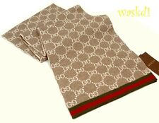 GUCCI beige & ivory SOLANGE Original GG red & green WEB wool scarf NWT Authentic