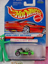 1998 #21 FE Hot Wheels GO KART cart #651 red car back ∞ Green ∞ First Editions