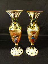 EXQUISITE MUSEUM QUALITY MOSER BOHEMIAN  PORTRAIT OVERLAY GLASS VASES CIRCA 1875