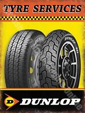 Vintage Garage Dunlop Tyres, 58 Car & Motorbike Motorcycle Large Metal Tin Sign