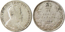 CANADA  ,  EDWARD  VII  ,  10  CENTS  ARGENT  1908