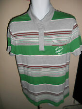 NEXT - GREEN / BROWN STRIPED POLO-SHIRT SIZE LARGE