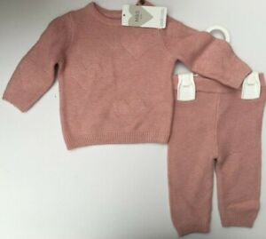 Baby Girls M&S Pink Knitted Cotton Outfit Up to 1 Month or 0-3 months  RRP £15