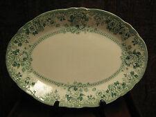 "ANTIQUE STAFFORDSHIRE PLATTER GREEN & WHITE ADAMS & CO. ARCADIA  c 1893 14 1/2"""