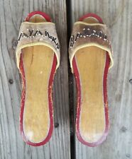 Vintage Bayan Ko Beaded Carved Wood Souvenir Shoes Sandals Clogs Philippines
