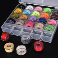 25x Bobbins Sewing Machine Spools  Case With Sewing thread for Sewing Machine、UK