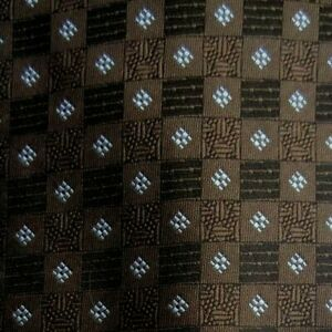 Brown Blue Foulard Self Tipped Silk Tie