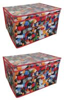 2x Kids Children's Toy Storage Box Bricks Jumbo Folding Large Chest Treasure New