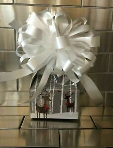 Reindeer Christmas Candy Gift Box-Basket Wrapped With White Bow & Card