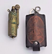 ANTIQUE WWII Austria Brass Slide Sleeve Trench IMCO Lighter with Leather Sleeve