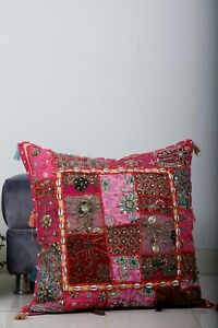 """Ethnic Patchwork Cushion Cover 24""""Sofa Throw Pillow Case Embroidery Cushion Case"""