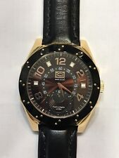 NEW MARC ECKO Rose Gold Black Leather Belt 45mm Quartz MEN'S WATCH #91