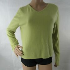 Chadwick's L Large Shirt Sweater Soft Cashmere Long Sleeve V Neck Green Womens