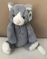 NEW Jellycat Medium Bashful Cat Grey White Kitten Soft Toy Baby Comforter BNWT