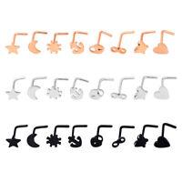 8pcs/lot Nose Ring Open Hoop Lip Studs Set Stainless Steel Body Piercing Jewelry
