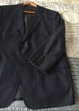 Joseph Abboud Mens Suit Jacket Navy Pinstripe 100% Wool 44R Lined 2 Button