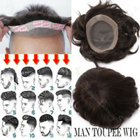 New! Mens Mono Lace Hair Replacement System Natural Hairline Toupee Hairpiece 1B