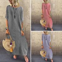 Oversized Women Short Sleeve Striped Shirt Dress Long Maxi Dress Sundress Plus