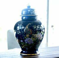 Vtg Japanese Blue Gold Gilded Peacock Medium Urn Made in Japan 1970s