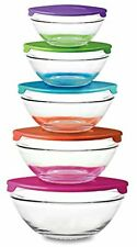 10 Piece Glass Bowl Set with Plastic Lids Microwave, Freezer and Dishwasher Safe