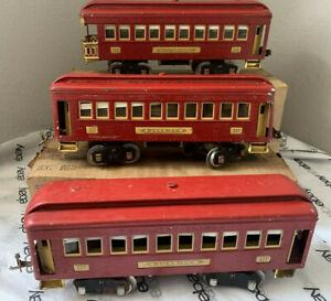 Lionel No. set of two(2) 337 Red Pullman Cars and a 338 Red Observation Car