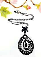 Antique Black Vauxhall Glass French Jet Pendant Necklace - Mourning