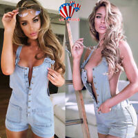 US Women Sexy Short Denim Jumpsuit Jeans Romper Overall Shorts Playsuit Trousers
