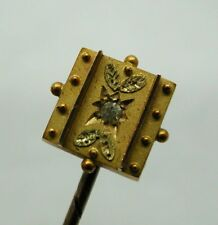 Lovely Antique 15 Carat Gold And Diamond Stick / Tie Pin