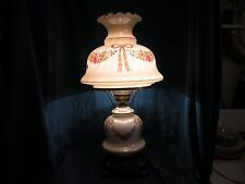 """Vintage """" Gone With The Wind"""" large Tan Floral Banquet Parlor Table Lamp"""