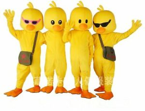 Yellow Duck Cartoon Character Mascot Costume Suit Cosplay Outfit Party Dress Lot