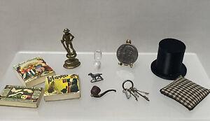 VTG Artisan Gentleman's Decor Hourglass Skeleton Keys Dollhouse Miniature 1:12
