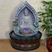 Buddha In Archway Water Fountain With Light And Crystal Ball Indoor Decor