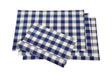 Cotton Placemats Checkered Blue & White 4/pack