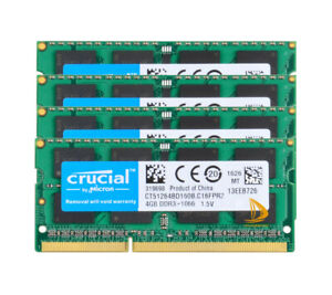 Crucial 4x 4GB PC3-8500S DDR3 1066Mhz SODIMM Laptop Memory RAM 204Pin PC8500 CL7