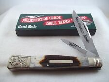 Parker Eagle Brand Hand Made Japan New Orleans Stag Folding Bowie Knife in Box