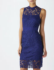 New Monsoon Acer Royal Blue Lace Illusion Neck Cocktail Pencil Dress Size 14 £99