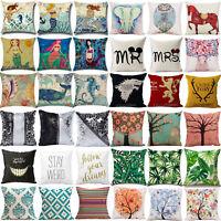 Mermaid Cushion Covers Cotton Linen Printed Throw Pillow Cover Home Sofa Decor
